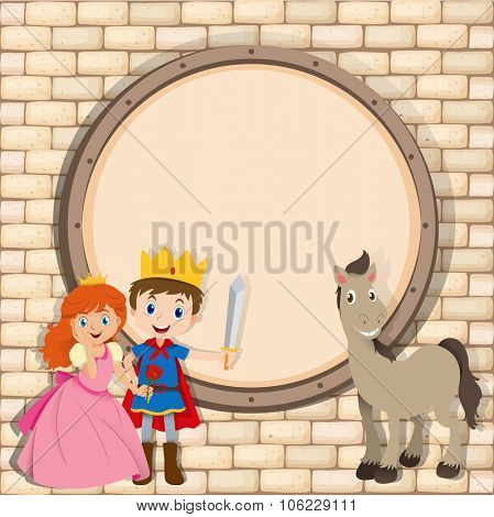 Border design with prince and princess  illustration