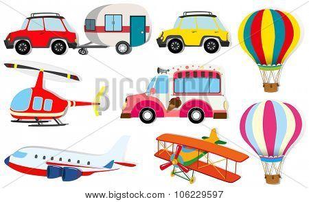 Different kind of transportation illustration