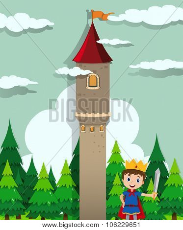 Prince and castle tower illustration