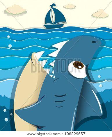 Angry shark aiming for sailboat illustration