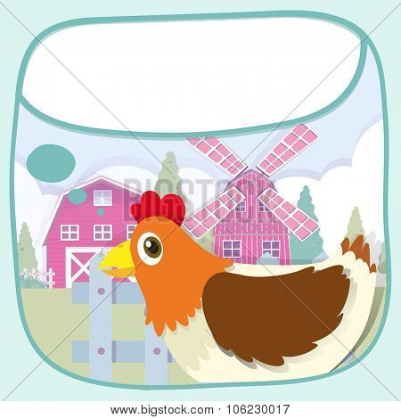 Border design with chicken and windmill illustration