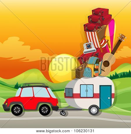 Roadtrip with car loaded with luggages illustration