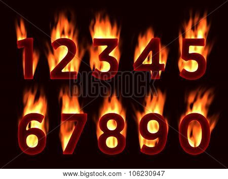 Fire font. Numbers in the fire. Alphabet with fire.