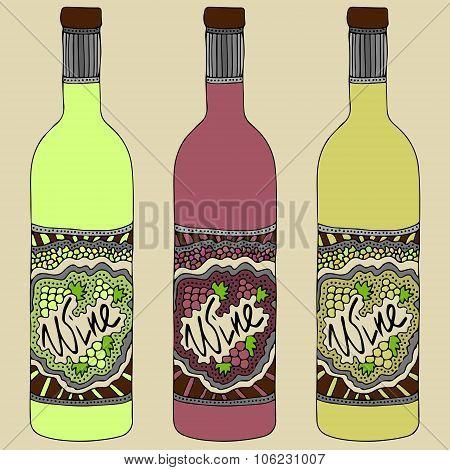 Wine Bottles Zentangle Retro 3