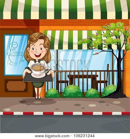 Waitress serving hot coffee at the shop illustration