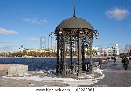 EKATERINBURG, RUSSIA -  OCTOBER 21, 2015: Photo of Rotunda on the shore of the city pond.