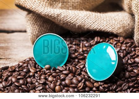 Coffe pods on wooden table