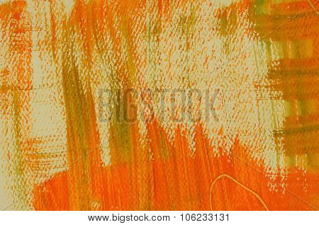 Hand painted multi-layered orange background with scratches