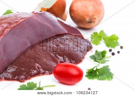 Piece Raw Liver A Beef From On Side