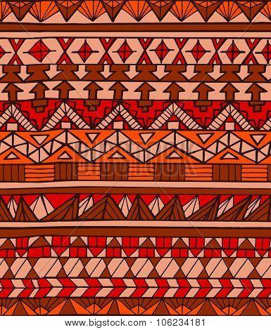 Hand Drawn Aztec Geometric Colorful Seamless Pattern