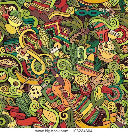 Cartoon hand-drawn Doodles on the subject of Latin America