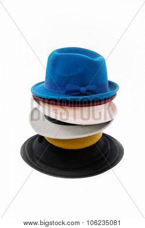 Stacked colorful fedora hat