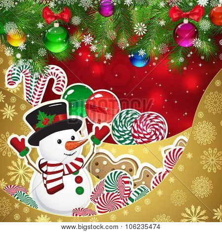 Snowman on the background of sweets, decorated Christmas balls branches. Red background and gold layers, decorated with snowflake patterns. Christmas card.