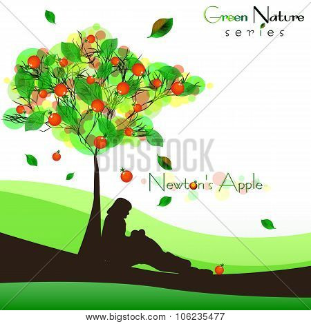 Abstract Nature Background With Fructifying Tree. Newton's Apple
