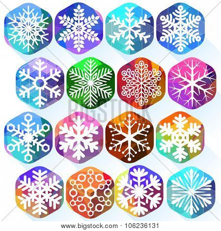 Snowflakes on bright ice color cubes.