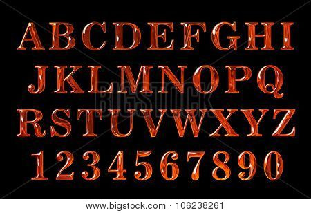 fire text collection. Alphabet of Fire