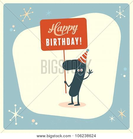 Vintage style funny 7th birthday Card.