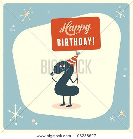 Vintage style funny 2nd birthday Card.