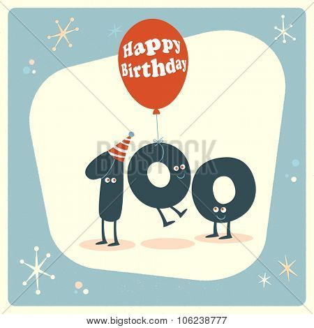 Vintage style funny 100th birthday Card.