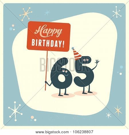 Vintage style funny 65th birthday Card.