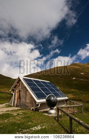 Solar Panels On A Mountain Hut, Electrical Energy Production