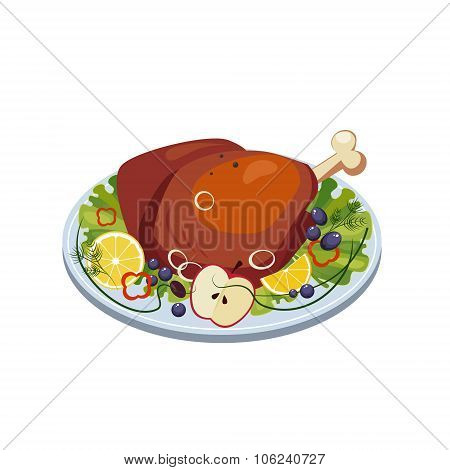 Roasted Turkey Ham with Vegetables and Apples on a Dish. Vector