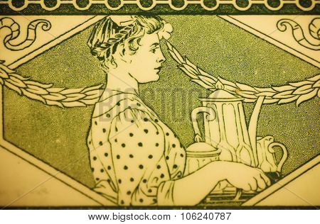 Ceramic Tile With Waitress And Kettle Of Coffee