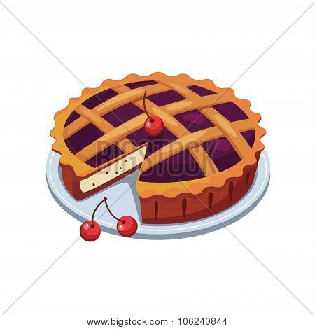 Cherry Pie and Slice. Vector