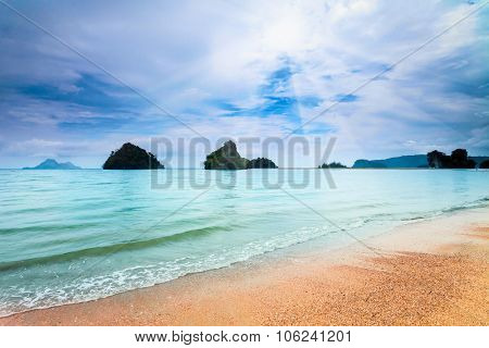 landscape of tropical beach and blue sky with white clouds in Krabi province, Thailand