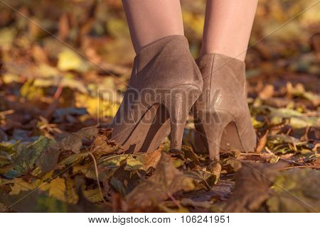 Heel of woman on the autumn leaves