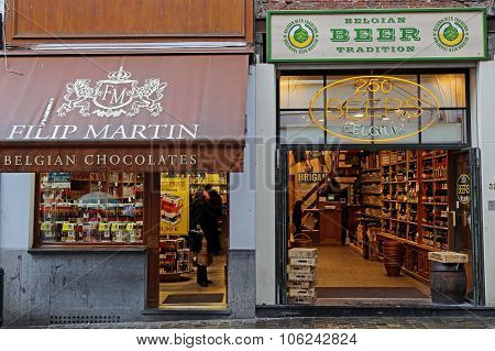 Shops With Chocolate And Beer Traditional In Belgium