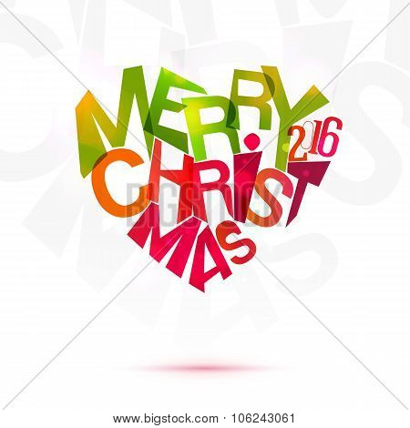 Merry Christmas Heart label at white background