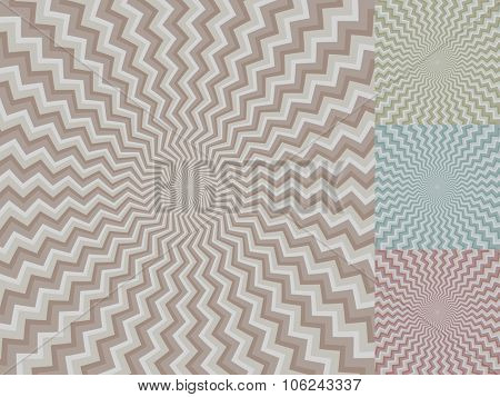 Circular zig-zag stripe vector background with color variants.