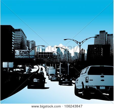 Downtown city and traffic on highway vector illustration