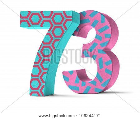 Colorful Paper Mache Number On A White Background  - Number 73