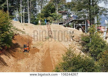 construction of a ski slope
