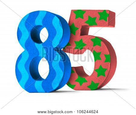 Colorful Paper Mache Number On A White Background  - Number 85