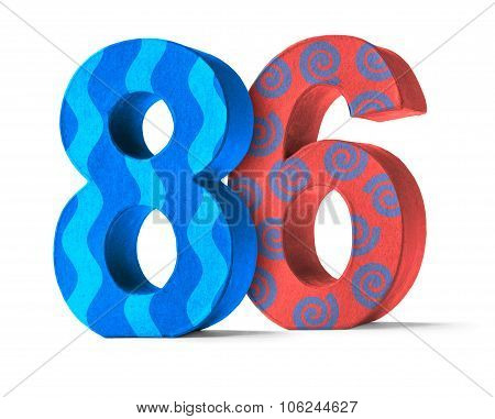 Colorful Paper Mache Number On A White Background  - Number 86