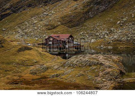 The Balea Glaciar Lake And Chalet