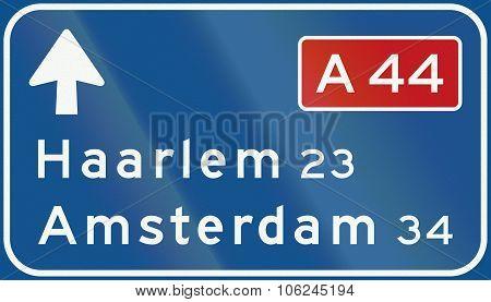 Netherlands Road Sign K1 - Low Level Motorway Information Sign