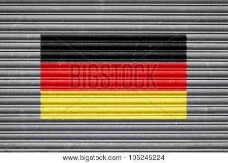 German Flag On Metal Shutter