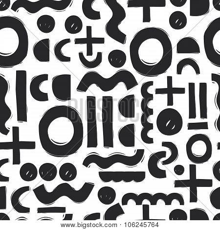 hand drawn geometric sloppy seamless pattern