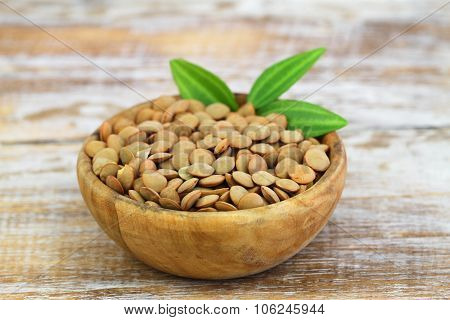 Uncooked green lentils in bowl on rustic wooden surface