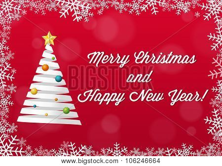 Merry Christmas And Happy New Year Card - White On Red Background