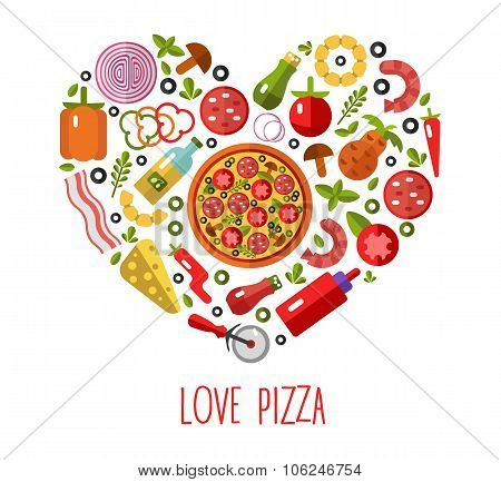 Pizza's icons in heart shape