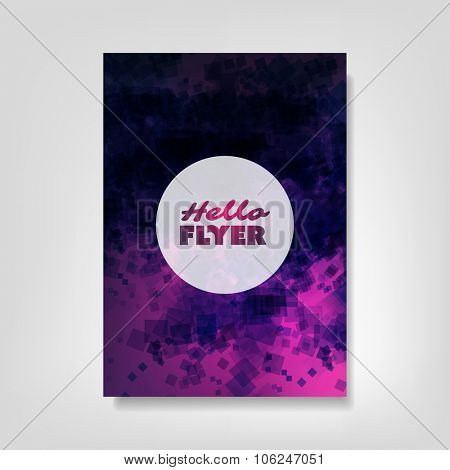 Hello Flyer - Flyer, Card or Cover Design with Abstract Purple Patter Background - Corporate Identity, Party or Ad Design Template