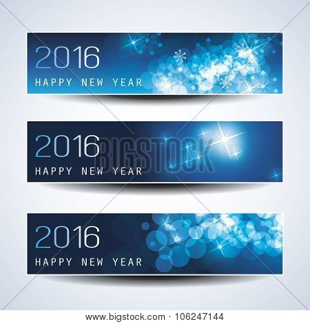 Set of Horizontal New Year Dark Banners - 2016 Version
