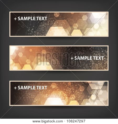 Set of Horizontal Banner / Cover Background Designs - Colors: Brown, Orange, White - Christmas, New Year or Other Holiday Ad Banner Templates