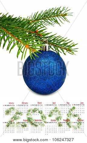 2016 Calendar. Isolated Image Of Christmas Ball Closeup