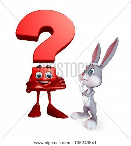 Easter Bunny With Question Mark Sign